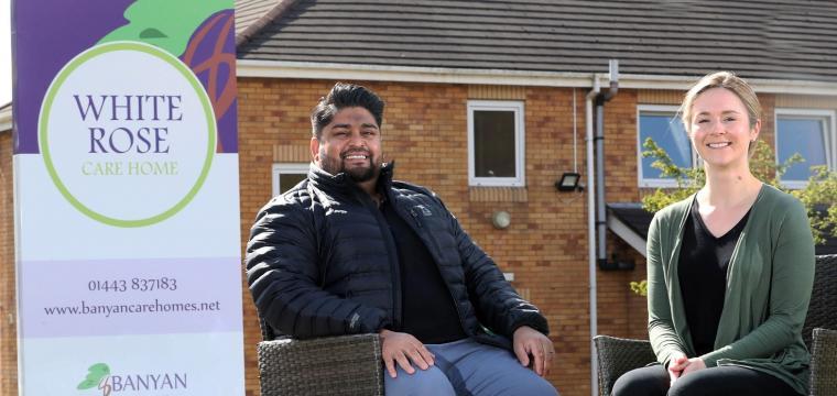 Shah and Nicky Seehootoorah outside White Rose Care Home